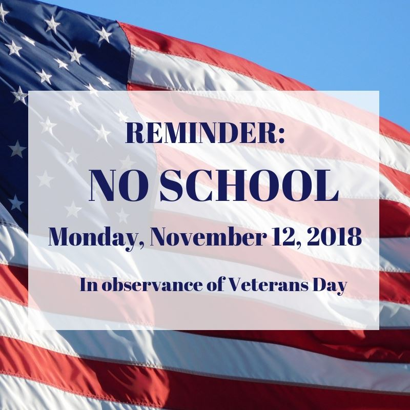 Pembroke Public Schools are closed on Monday, November 12, 2018, in observance of Veterans Day.