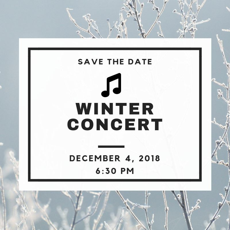 PCMS Winter Concert is December 4, 2018
