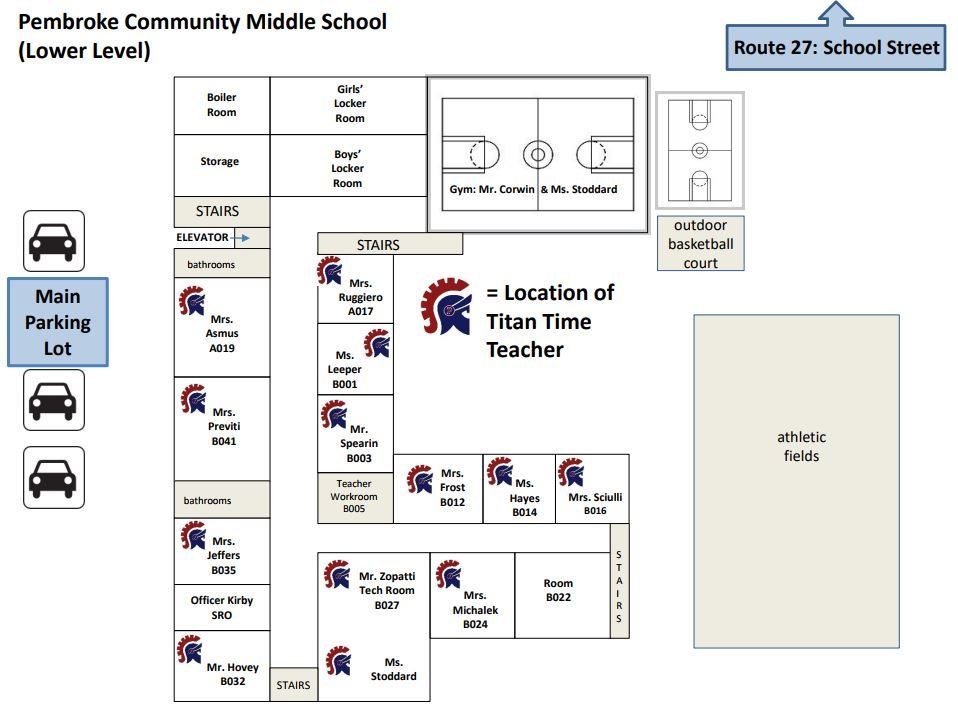 PCMS Lower Level Titan Time Teacher Map showing the classroom locations of each Titan Time teacher.