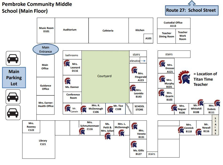 PCMS Main Floor Titan Time Teacher Map showing the classroom locations of each Titan Time teacher.