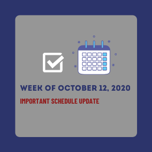 IMPORTANT SCHEDULE UPDATE